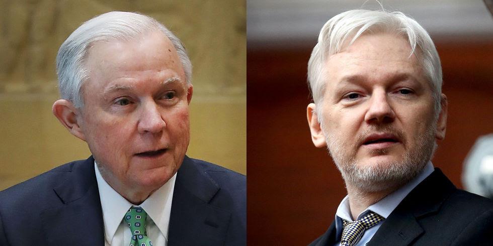 Risultati immagini per assange jeff sessions