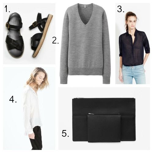 A.P.C. Sandals - Uniqlo Sweater - AYR Shirt - Zara Blouse - COS Clutch