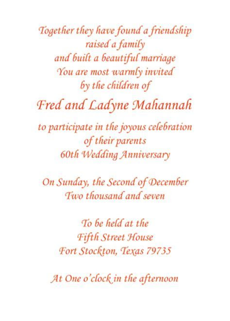 60th Wedding Anniversary Party Invitation, Style 1F
