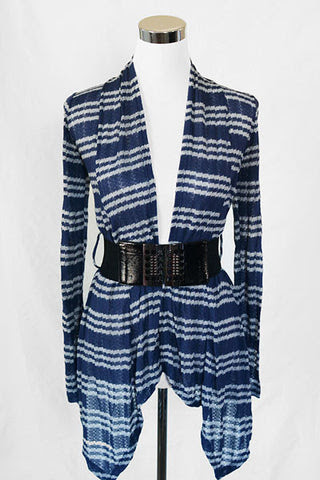 Light weight Striped Cardigan w/ Wide Belt