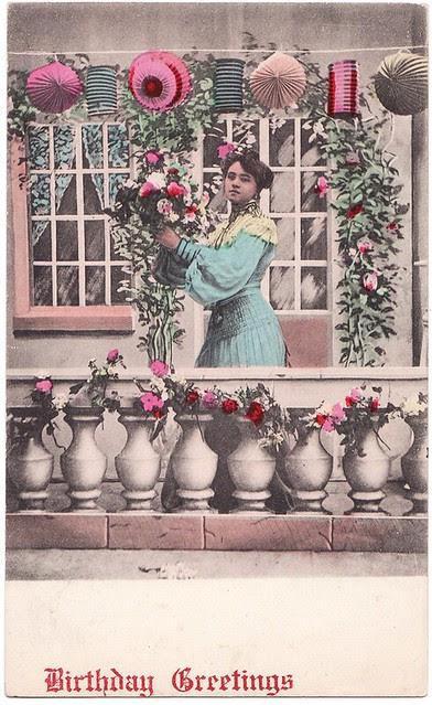 lantern birthday postcard