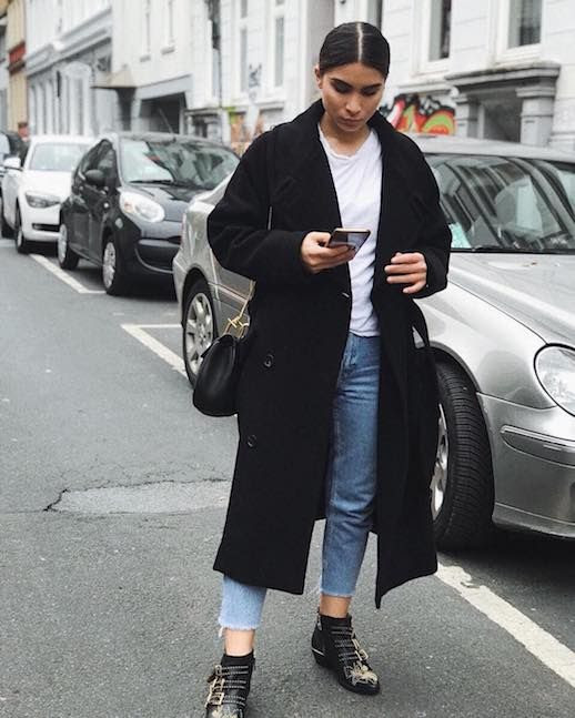 Le Fashion Blog Classic Combination Long Black Coat White T Shirt Cropped Vintage Jeans Black Chloe Boots Via @pelingl_