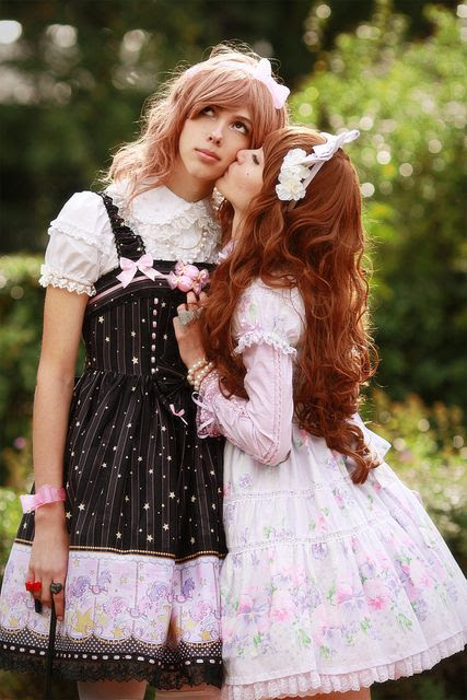 The girl on the left is a boy.  Brolita: Boys who dress like girl Lolitas.