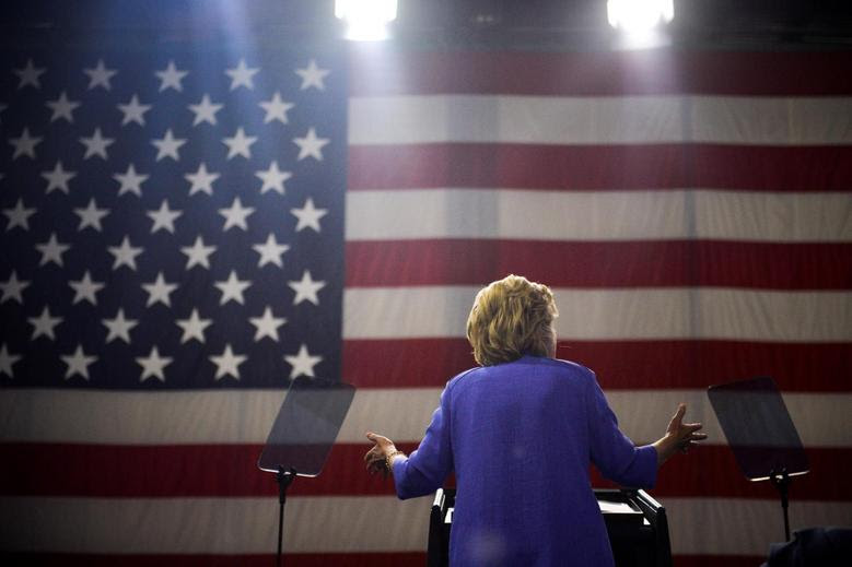 Democratic presidential candidate Hillary Clinton speaks during a campaign event with Vice-President Joe Biden in Scranton, Pennsylvania, August 15, 2016. REUTERS/Charles Mostoller