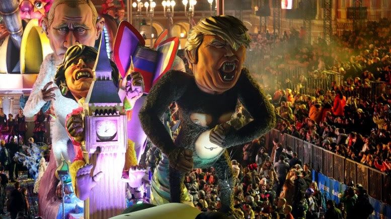 File Photo: A float of US President Donald J. Trump, Britain's Prime Minister Theresa May and Russian President Vladimir Putin entitled 'Planet of the Apes' goes through the crowd during the Nice carnival parade, in Nice, France. EPA, SEBASTIEN NOGIER