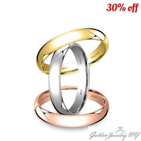 SOLID 18K WHITE YELLOW ROSE GOLD PLAIN COMFORT FIT WEDDING