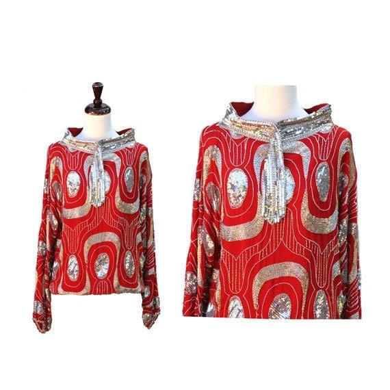 size M-L vintage red silk top