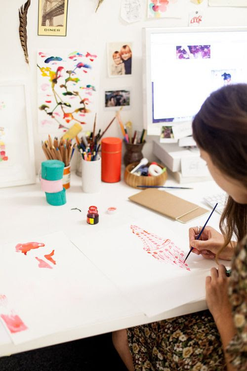 mutabalis:  Penguin book designer Arielle Gamble works on illustrations for a new title.  Photo - Phu Tang.
