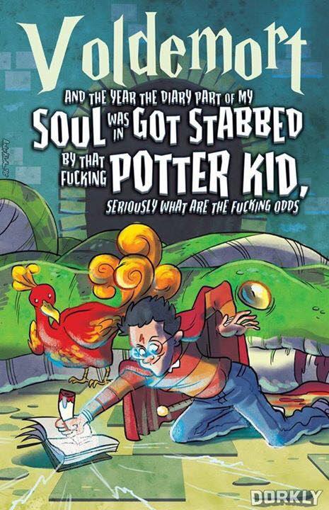 """Tradução livre: """"Voldemort - E o ano em o diário que é parte da minha alma foi esfaqueado por aquele porra do garoto Potter, sério quais são as chances dessa merda?"""""""