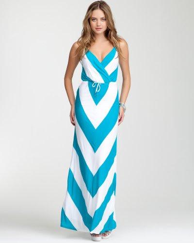 Bebe Mitered Stripe Maxi Dress CAPRI BREEZE-WHITE Size X-Small