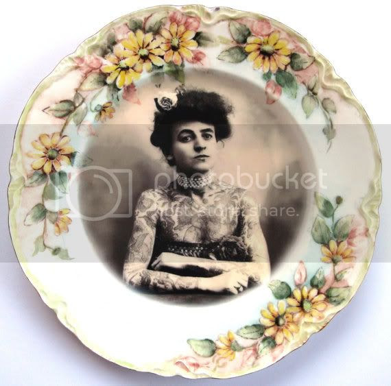 antique tattooed lady plate