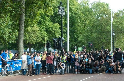 Photographers waiting for Boris to cycle