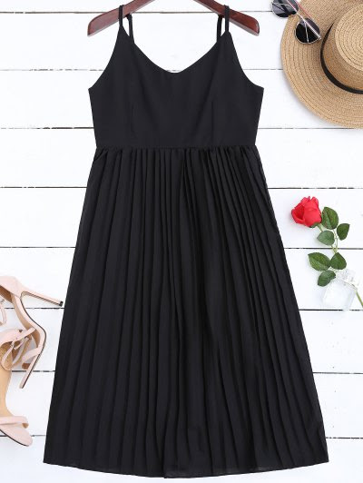 Zaful Chiffon Pleated Beach Slip Dress