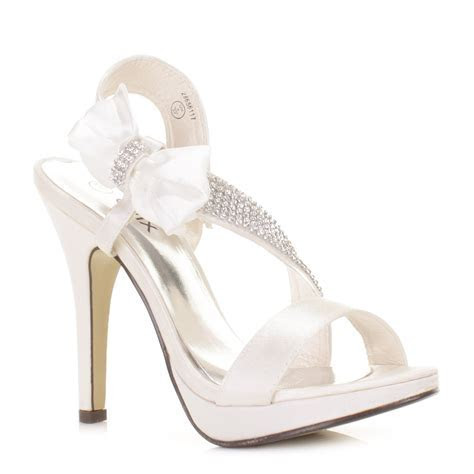 Womens Satin Bow Diamante High Heel Wedding Bridal Party