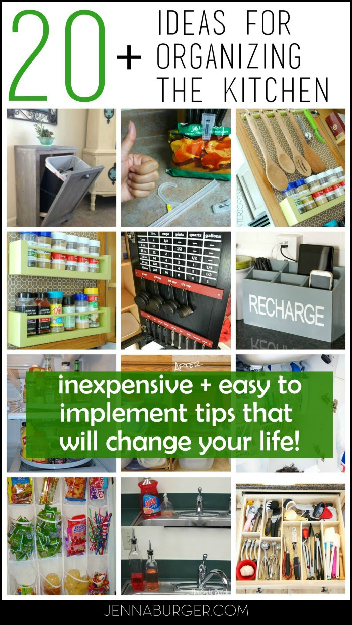 20 + Organizational Ideas for the Kitchen:Tips + Tricks to help organize every nook & cranny of the kitchen!