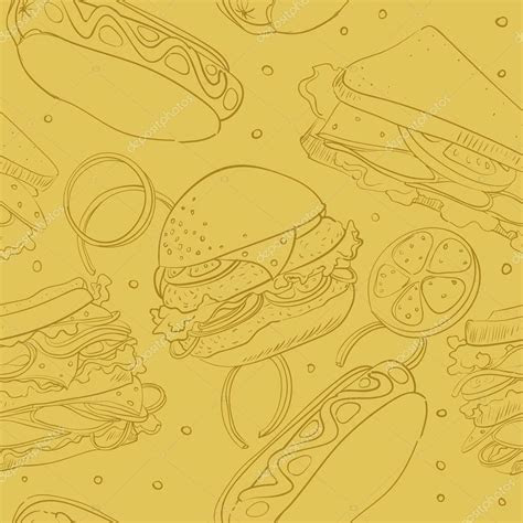 Wallpaper with fast food ? Stock Vector © Grey ant #13152338