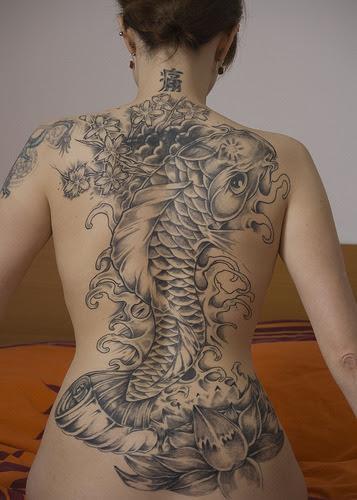 Sexy Tattoo Design- Koi Tattoo Design On Back Body