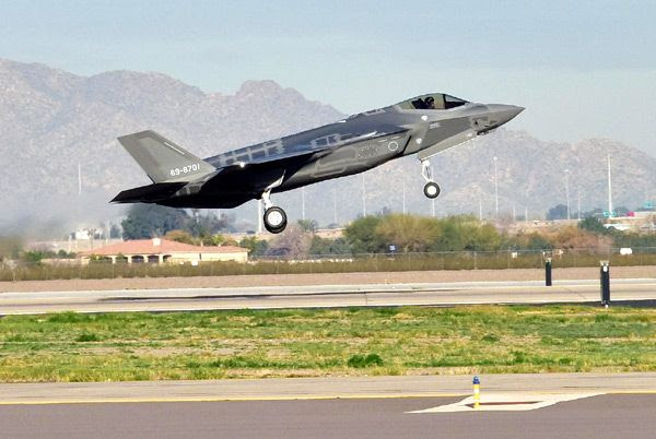 The F-35A Lightning II flown by JASDF pilot Lt. Col. Nakano takes off from Luke Air Force Base in Arizona...on February 7, 2017.