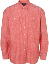 Topman Red Cotton Chambray Shirt