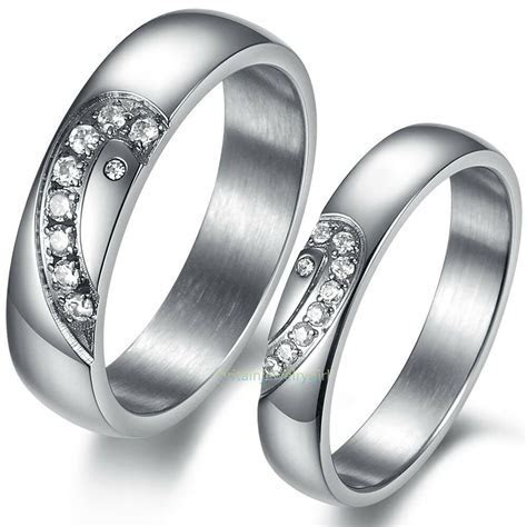 Stainless Steel Matching Heart CZ Men's Women's Promise