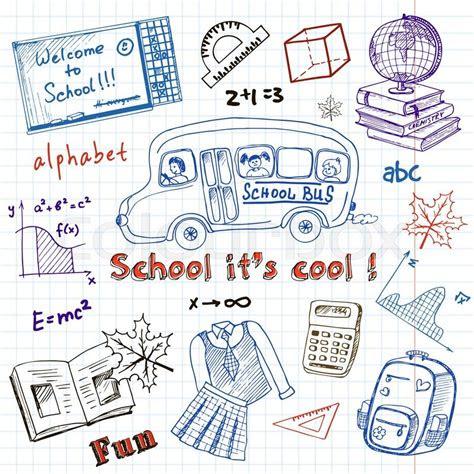 set  school drawings  chalkboard stock vector