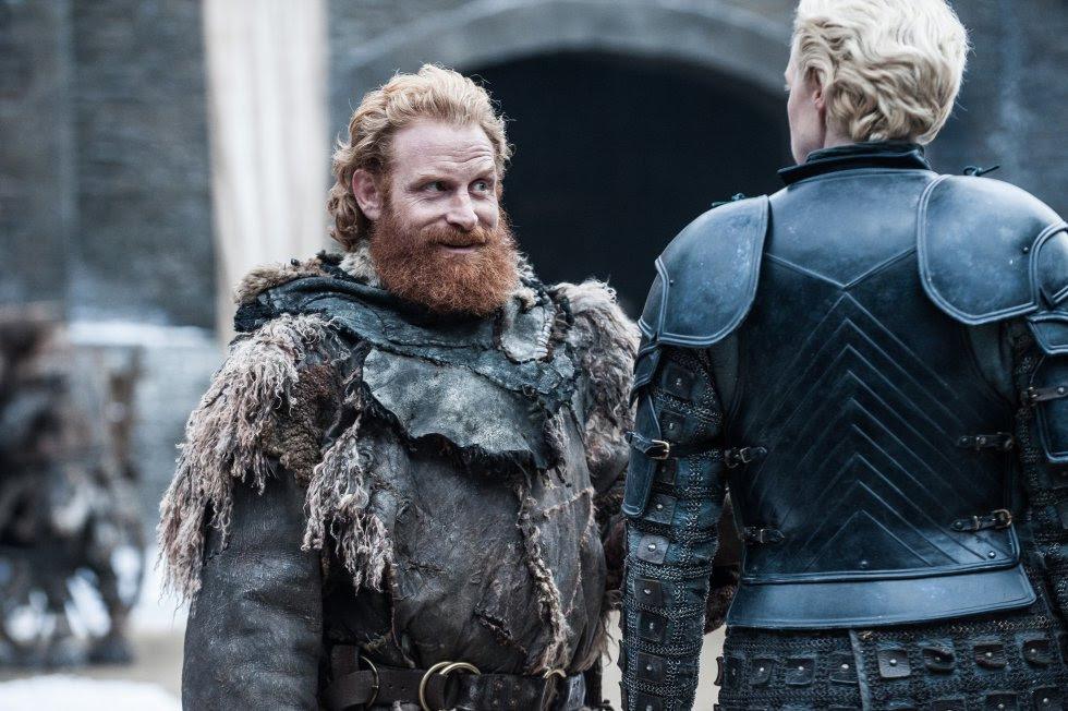 Kristofer Hivju como Tormund Matagigantes y Gwendoline Christie como Brienne de Tarth.