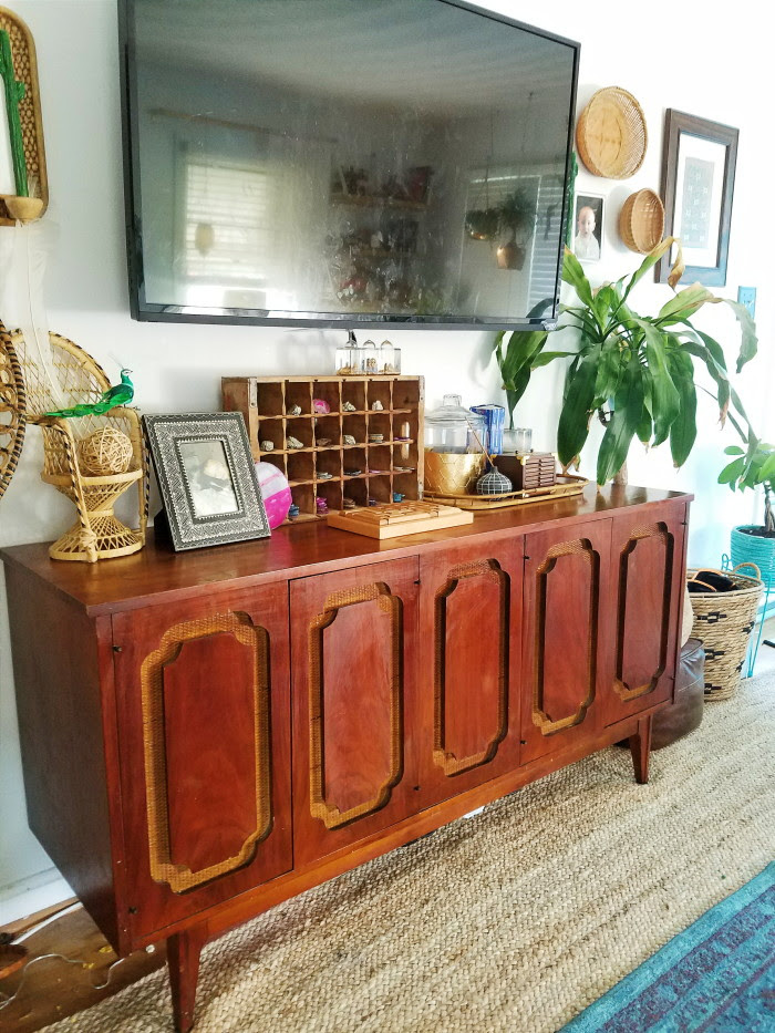 Bohemian decorated vintage lane credenza