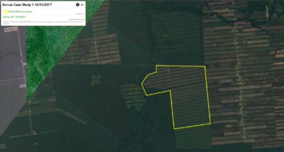 Imagen de satélite de abril de 2017 en la que se muestra el avance de la deforestación en plantaciones cerca de San José (Bolivia).
