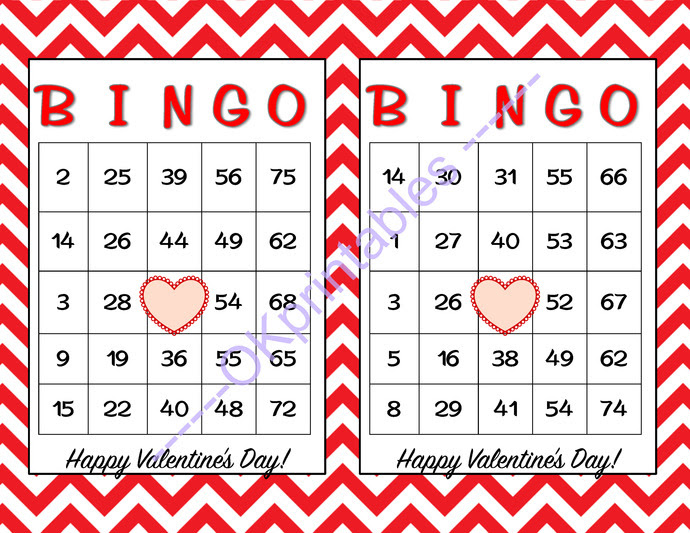 30 Happy Valentines Day Bingo cards - by okprintables on Zibbet