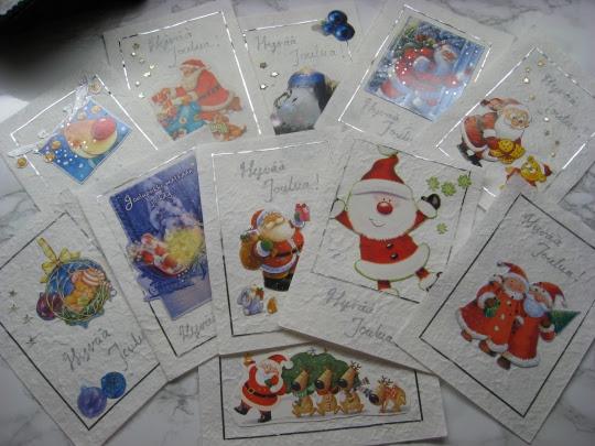 Kierrätetyt joulukortit