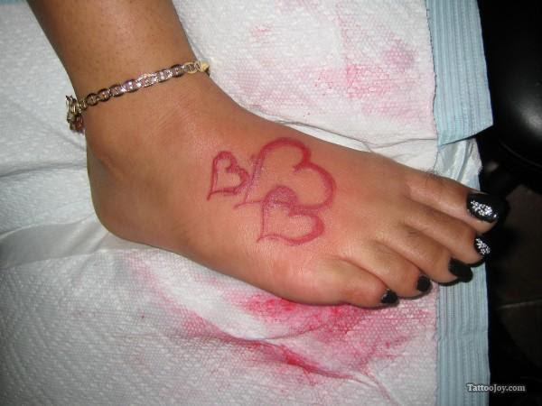 Heart Tattoo Nice Pink Hearts On Right Foot