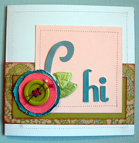Hi Card - Lime, Pink & Turquoise