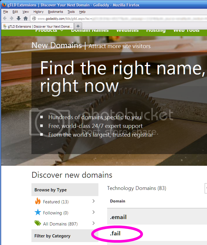 Screenshot showing soon-to-be-available new top-level-domain names, with .FAIL highlighted