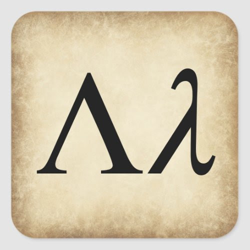 Greek Alphabet Letter Lambda Square Sticker