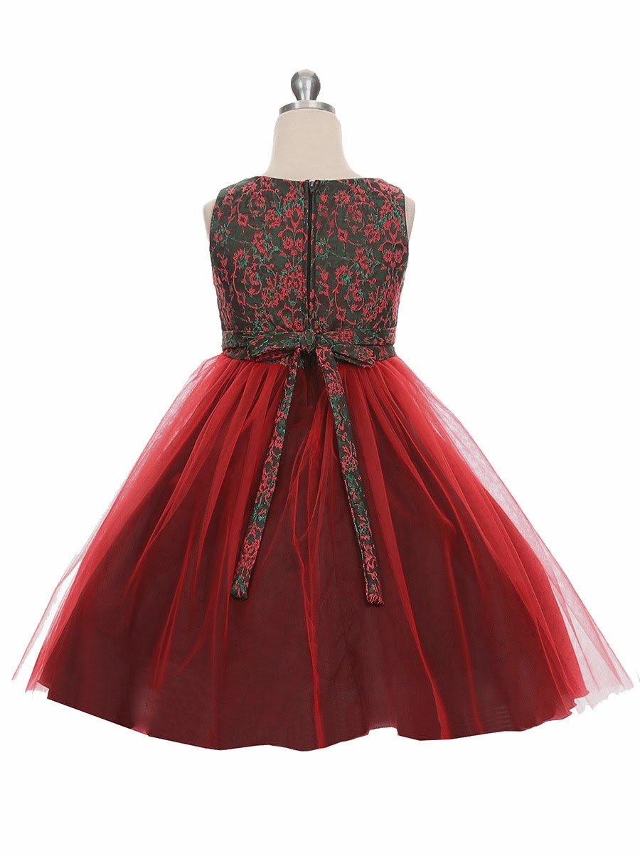 red  green jacquard holiday dress