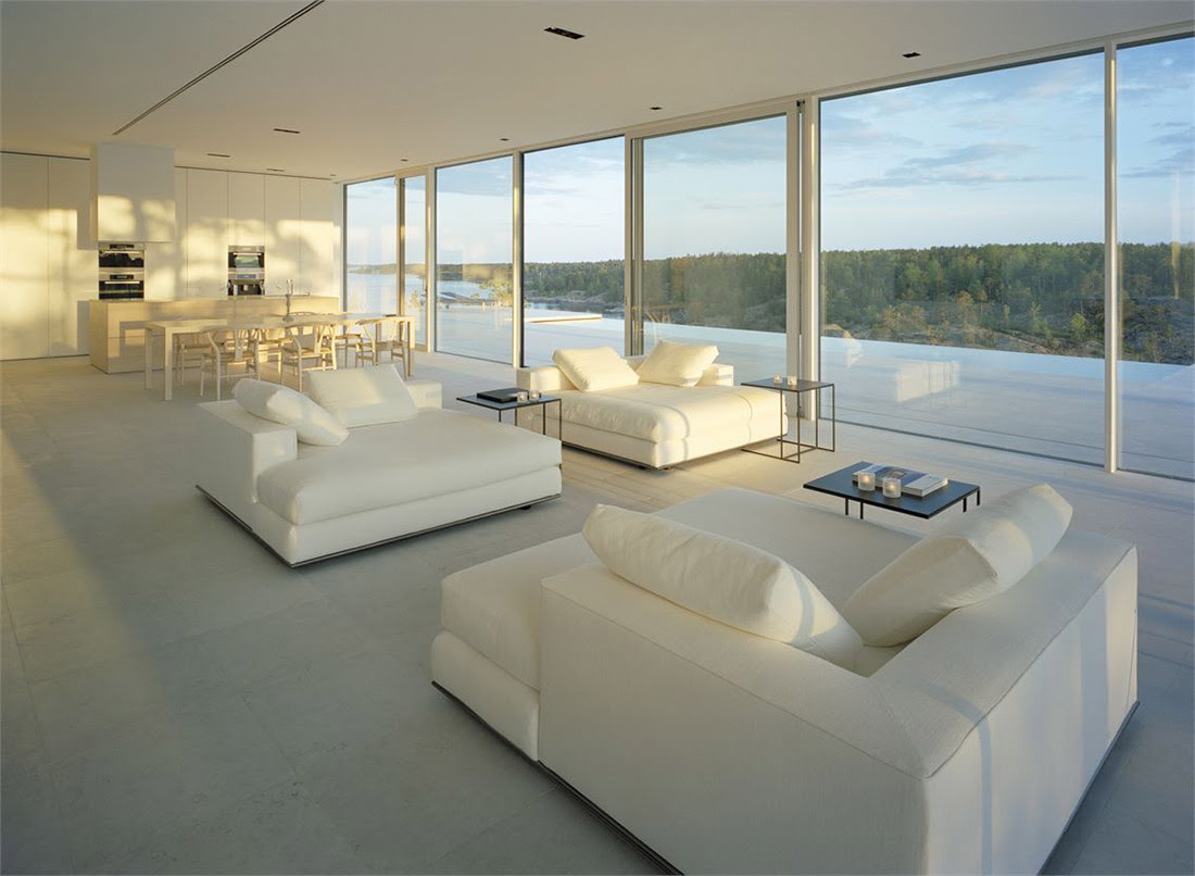 White Sofas, Dining, Kitchen, Open Plan, Stunning Lake House in Sweden