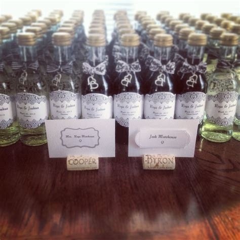 Mini wine bottles for wedding favors.   Rehearsal Dinner