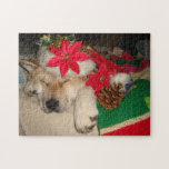 Cute akita dog santa hat cone decoration christmas jigsaw puzzle