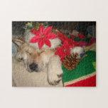 Cute akita dog santa hat cone decoration christmas jigsaw puzzle
