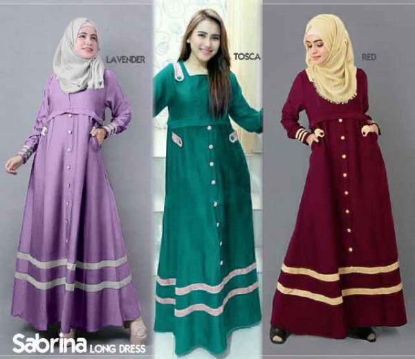 Gamis Remaja  Sabrina B067 Katun Model  Baju  Muslim Terbaru