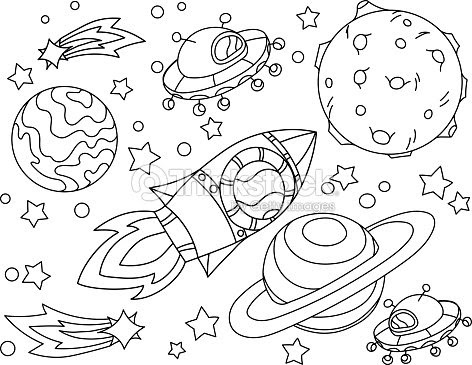 ロケットは塗り絵月へ飛ぶ抗ストレスの惑星地球月 Vetor のイラストは