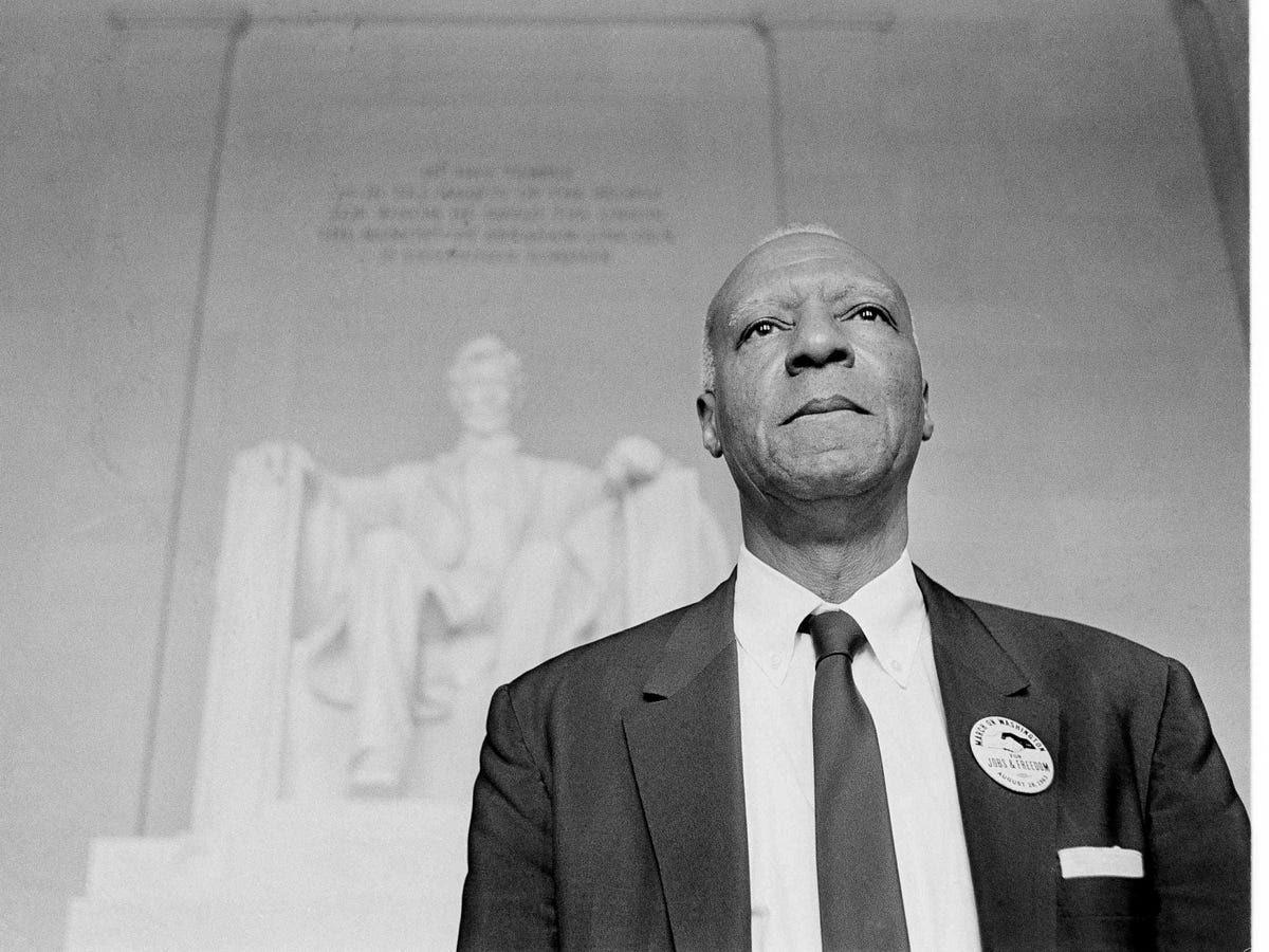 But the March on Washington owes the most to labor unions. Randolph, shown below in front of the Lincoln Memorial, led the Brotherhood of Sleeping Car Porters, one the first and largest black labor unions, which provided initial money as well as much of the door-to-door organizing power for the march.