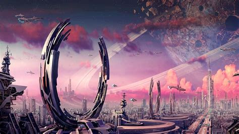 full hd wallpaper futuristic town sattelite portal gate