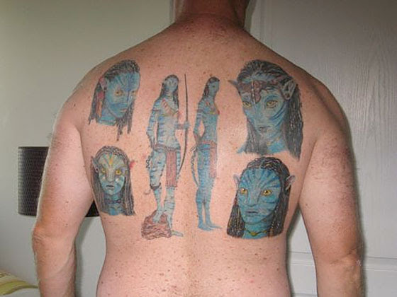 Man Covers Entire Back in Avatar Tattoos