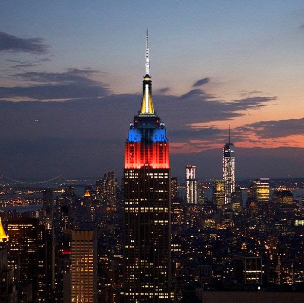 The Empire State Building is lit up in the colors of the Philippine flag in New York City, on November 15, 2013.