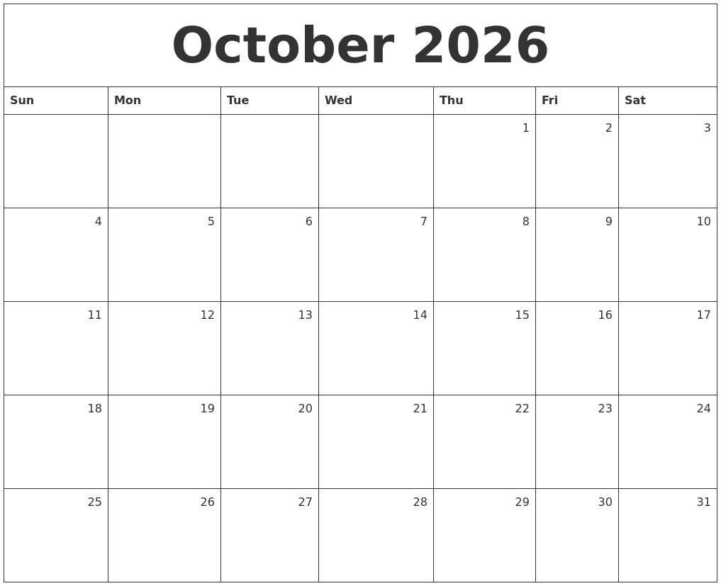 october 2026 monthly calendar