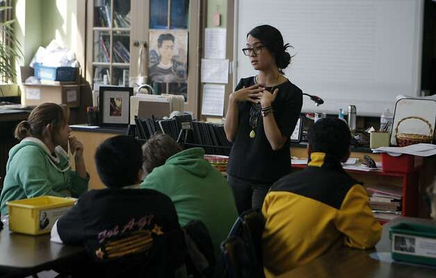 Monica Giudici teaches history to students at Everett Middle School in the Mission District, one of nine in San Francisco that received School Improvement Grants in 2010. The funding ends this year. Photo: Jessica Olthof, The Chronicle