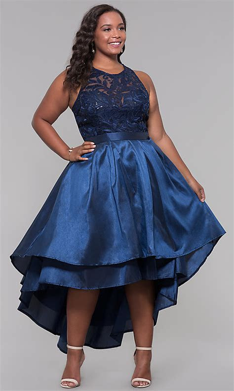 Plus Size Lace and Sequin High Low Wedding Guest Dress