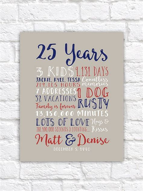25th Wedding Anniversary Gift, Paper, Canvas, Twenty Fifth