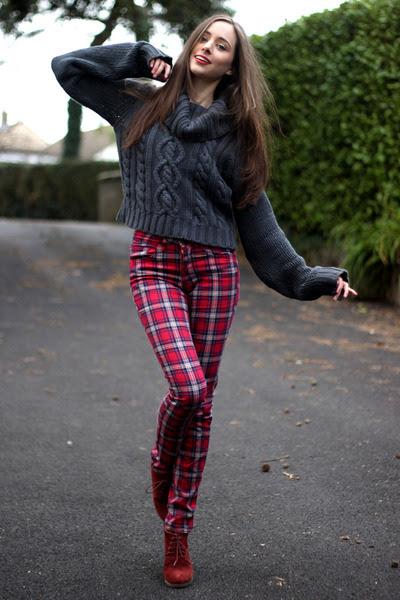 Burnt-orange-new-look-boots-ruby-red-tartan-h-m-jeans-dark-gray-asos-jumper